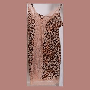 Victoria's Secret Animal Print & Pink Lace Slip
